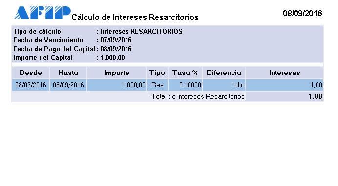 Cálculo de intereses AFIP